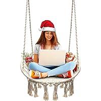 JKsmart Hängesitz & Hängesessel, Gestrickt von Baumwollseil mit romantischen Fransen Hängematte Swing Sessel für Drinnen/Draußen 120KG Kapazität (Hängemattenhalter und Kissen sind Nicht Enthalten)