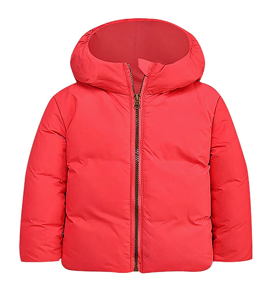 BPrince Kids Solid Color Zip Up High Collar Plaid Lining Hooded Down Jacket