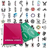PointZero Temporary Tattoo Airbrush Stencils 100 Designs - Book 2
