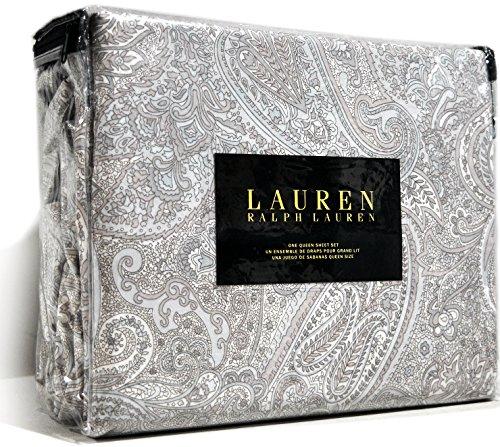 Ralph Lauren 4-piece Sheet Set Queen Size Cotton Sateen Tan Sky Blue Paisley