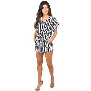 03898ad1b8 Amazon.com  Sunward Women Sexy Elastic Waist Bracelet Sleeves Wrap Floral  Romper Shorts Jumpsuit  Clothing