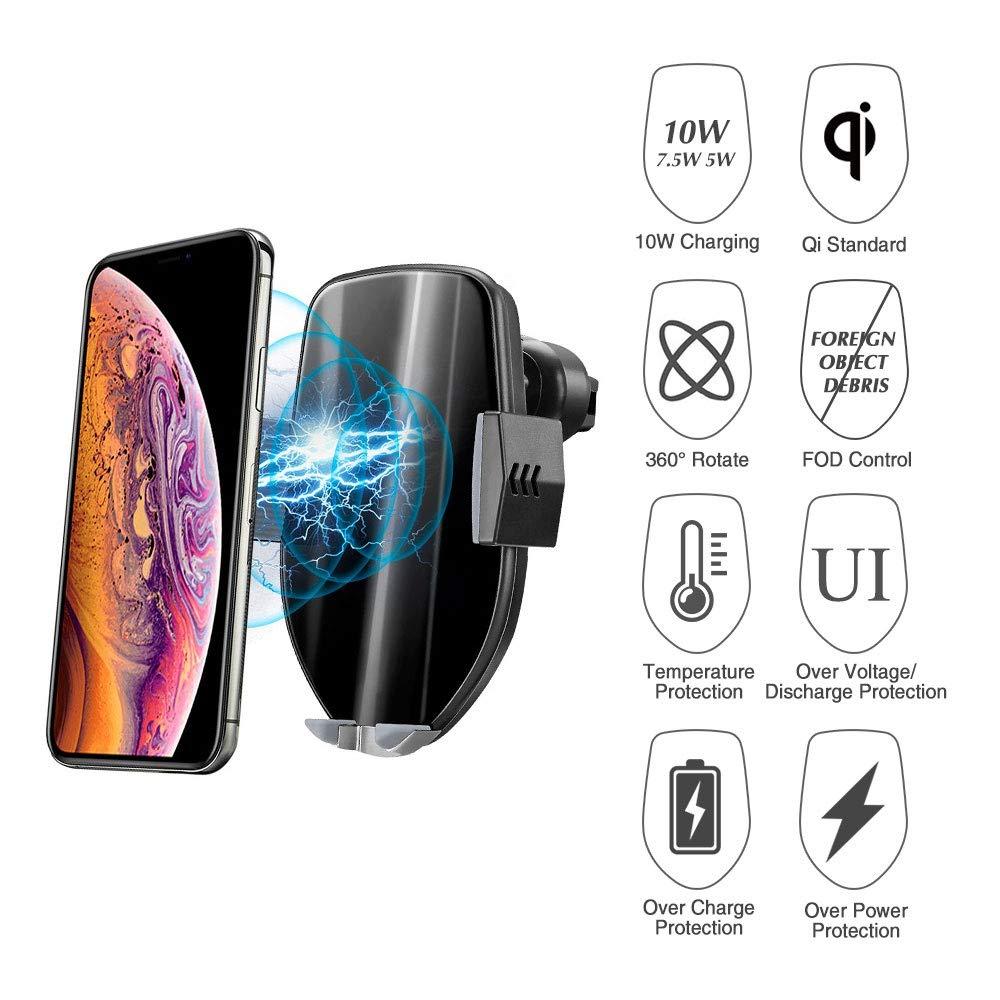 Kabellose Handy Autoladeger/äte Automatisch Wireless Charger Motor Betrieb 10W Kfz Induktive Ladestation 2 in 1 mit L/üftung /& Saugnapfshalter f/ür iPhone XS//X//8P Galaxy S9//S8//S10 und andere Qi F/ähige