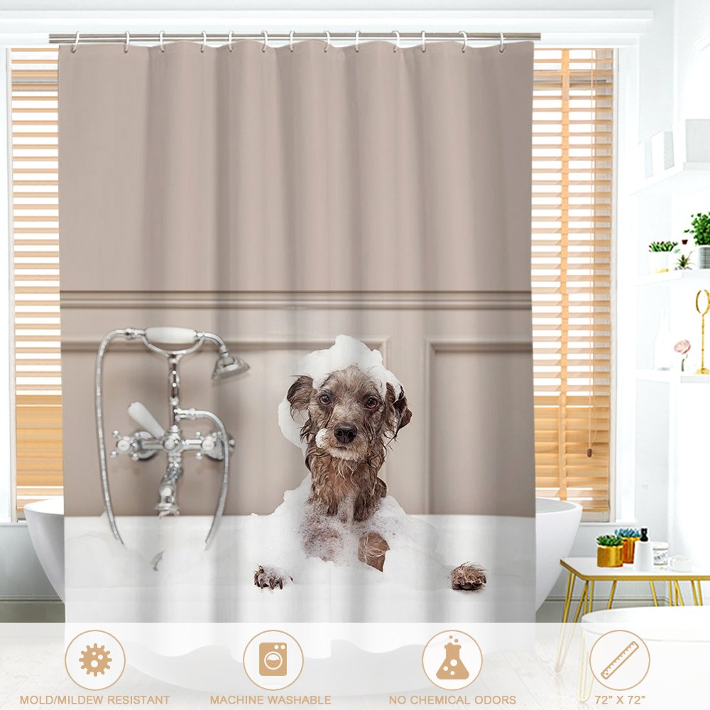 Shower Curtain Htovila White PEVA Waterproof and Mildewproof Bath Curtain With 12pcs Hooks Privacy Protection For Home and Hotel 180 x 180 Cm (72 x 72 Inch)