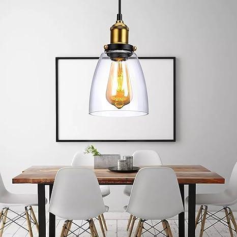 Colgante luz, Industrial lámpara de techo vidrio Transparente ...