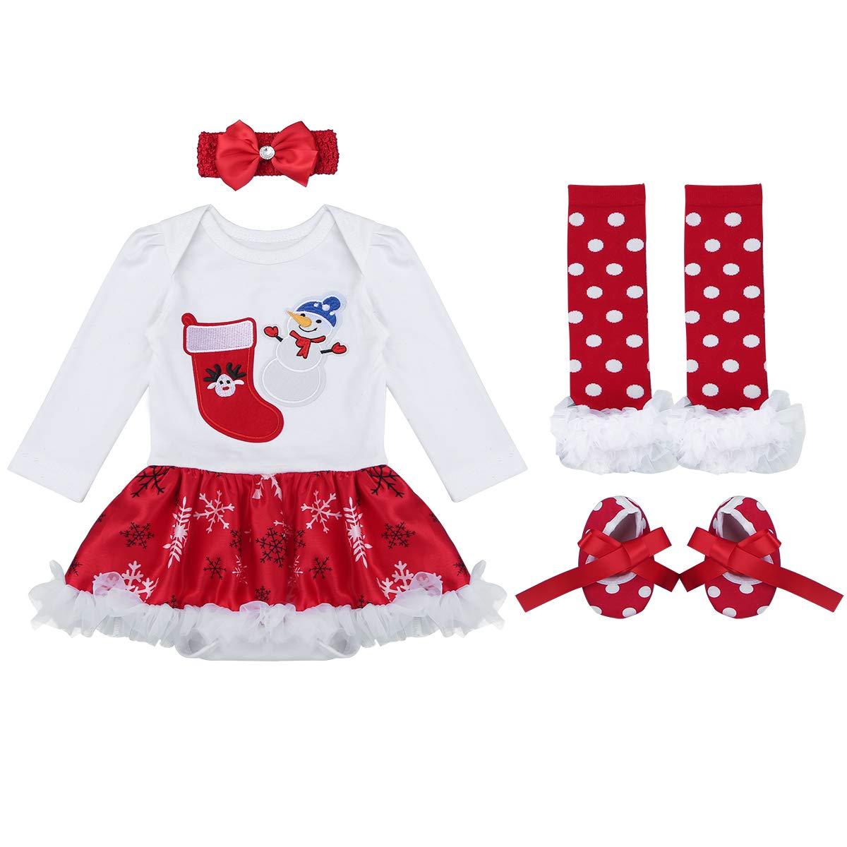Freebily Traje Conjunto Navideño para Bebé Niños con Patrón Santa Pelele Mi Primera Navidad Recién Navidas Tutú Falda con Calentador de Piernas+Diadema+Zapatos Sets