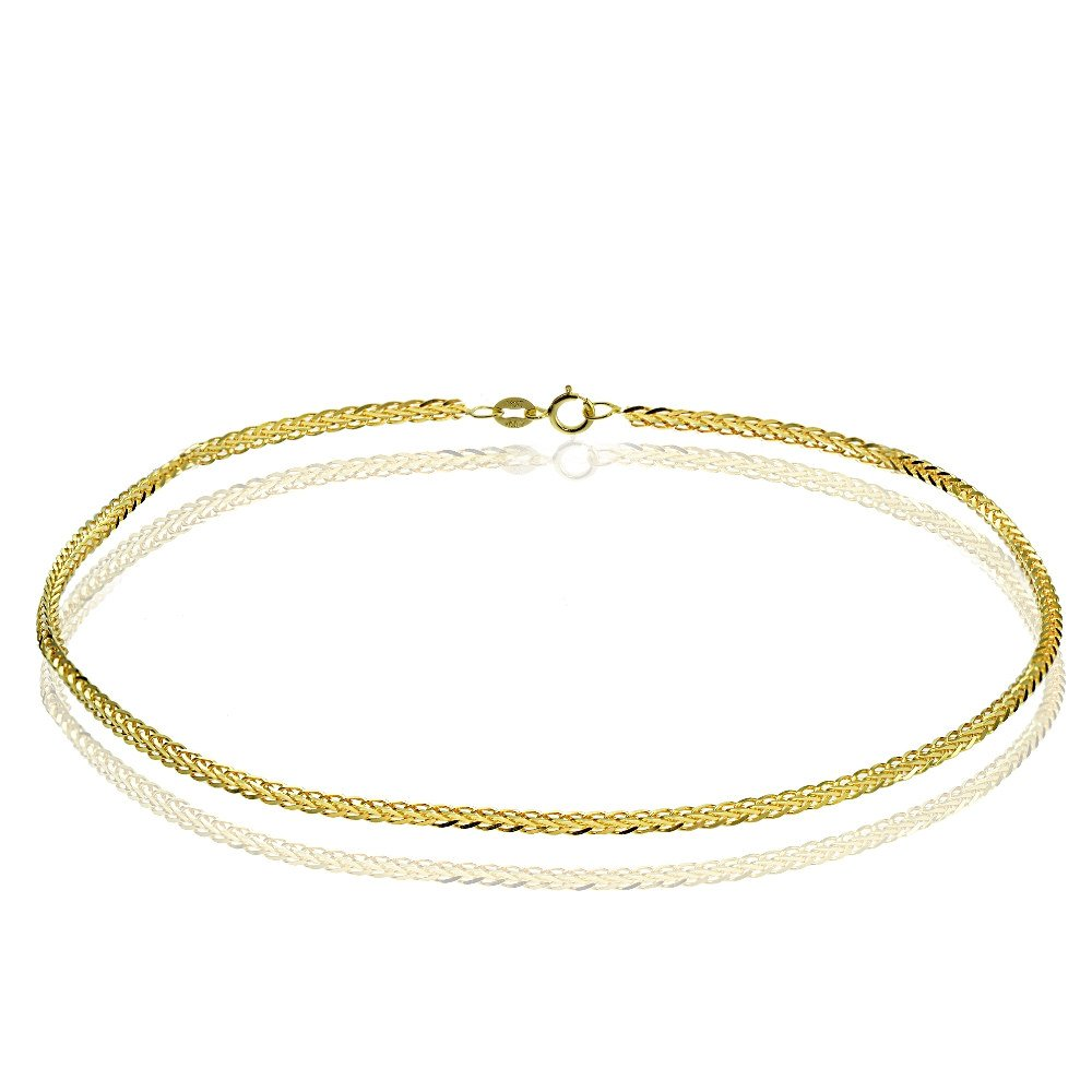 Bria Lou 14k Yellow Gold .8mm Italian Spiga Wheat Chain Anklet, 9 Inches