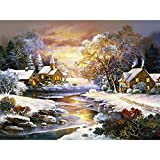 Ant-Tree 15.75''x11.81'' Winter River House 5D DIY Diamond Painting Kit with Color Box Package Full Square Rhinestone Embroidery Cross Stitch Arts Craft for Home Wall Decoration
