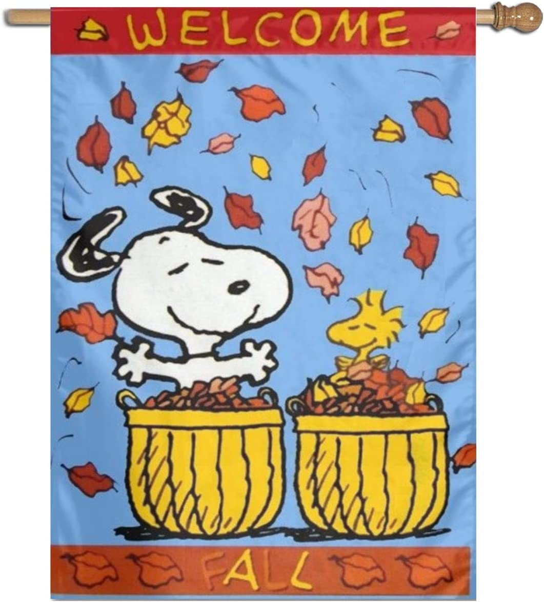 "LoV Snoopy Happy Fall (2) Garden Flag Home Outdoor Indoor Decor 27"""" X37 Inch"