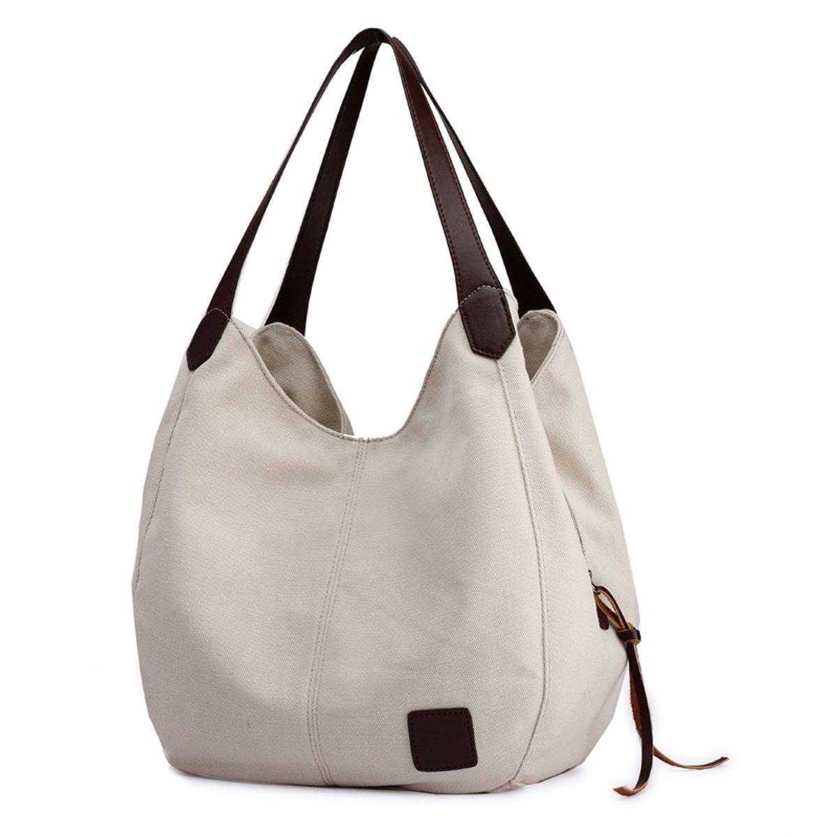 77b3b145c21c6 Hiigoo Fashion Women's Multi-pocket Cotton Canvas Handbags Shoulder Bags  Totes Purses (Beige): Amazon.ca: Shoes & Handbags
