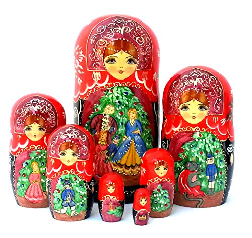 Nutcracker fairy tale Russian Hand Carved Hand Painted Nesting 7 piece DOLL Set 7