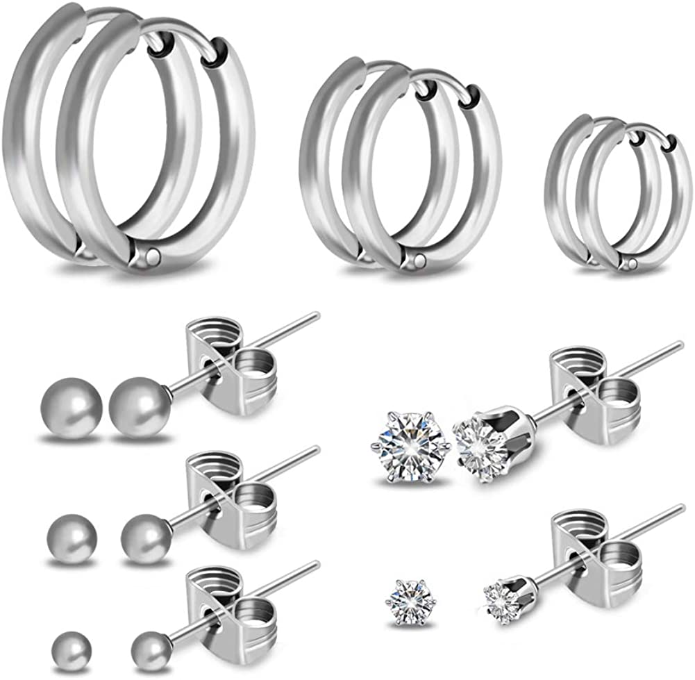 8 Pairs Dainty CZ Stud Earrings Set SOITIS Endless Hoops, Small Round Ball Earring Pierced Stainless Steel for Girls, Hypoallergenic Nickel Free for Boy Father Men Women Kids Fashion Gifts
