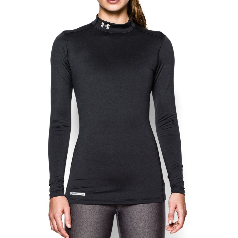 Under Armour Women's ColdGear Authentic Mock, Black (001)/Metal, XX-Large by Under Armour