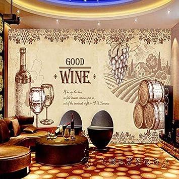 Wallpaper Papier Peint Retro Grandes Murales De Vin De Raisin Vin