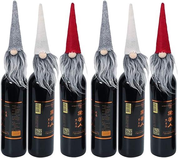 Amosfun fieltro botella de vino de navidad topper vacaciones gnomo ...