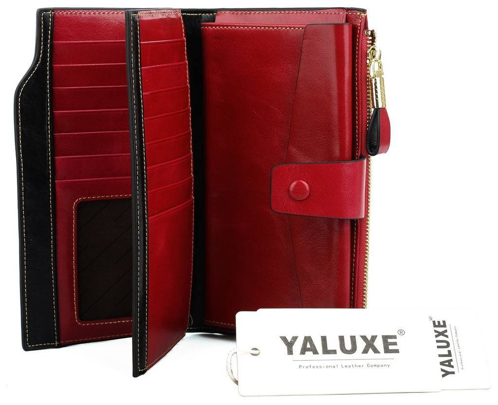 YALUXE Women's Wax Genuine Leather RFID Blocking Clutch Wallet Wallets for Women Red by YALUXE (Image #7)