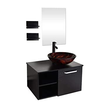 28 Inch Bathroom Vanity Set Modern Mdf Stand Pedestal Cabinet And