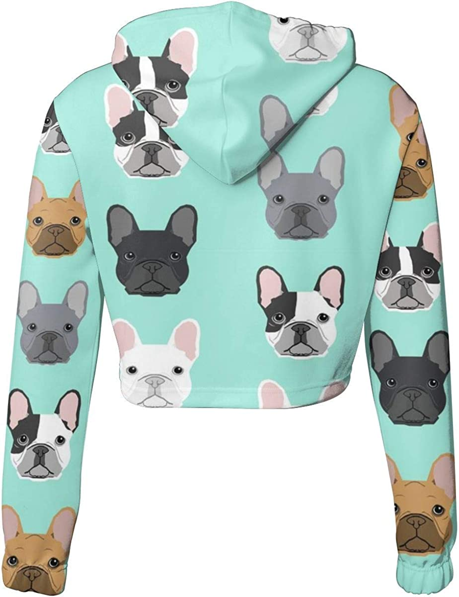 MAYUES French Bulldogs Women Cropped Hoodie for Sports Gym Office School for Sports Gym Office School