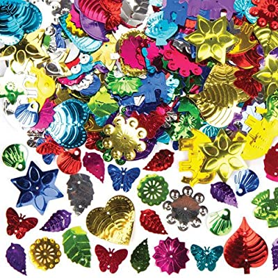Baker Ross Jumbo Shaped Sequins Value Pack for Kids' Crafts and Art Projects, Cards, Party Bags, and Decorations (80g Pack): Toys & Games