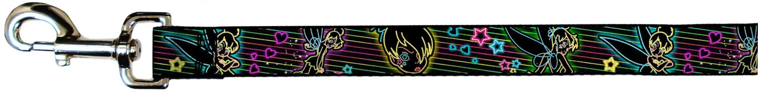 Buckle-Down Pet Leash Electric Tinkerbell Poses Stripes Black Multi Neon 6 Feet Long 1.5  Wide
