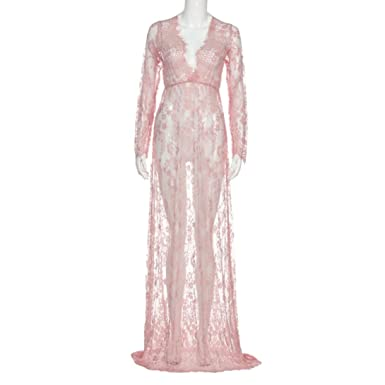 3bc56f8aa75d1 Pregnant Photography Women Lace Long Sleeve Transparent Sexy Evening Dress  Maternity Maxi Dress (Pink,