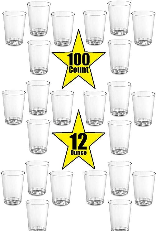 Amazon.com: 100 vasos de plástico duro de 12 onzas para ...