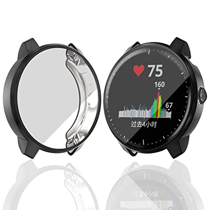 Haojavo Compatible with Garmin Vivoactive 3 Music Screen Protector Case, Soft Plated TPU Scratch-Proof Full Protective Protector Cover for Garmin ...