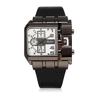 81d4a0cf00 Rockyu ブランド 人気 腕時計 メンズ レディース おしゃれ 時計 赤 レザー 革 バンド (ブラウンバンド白