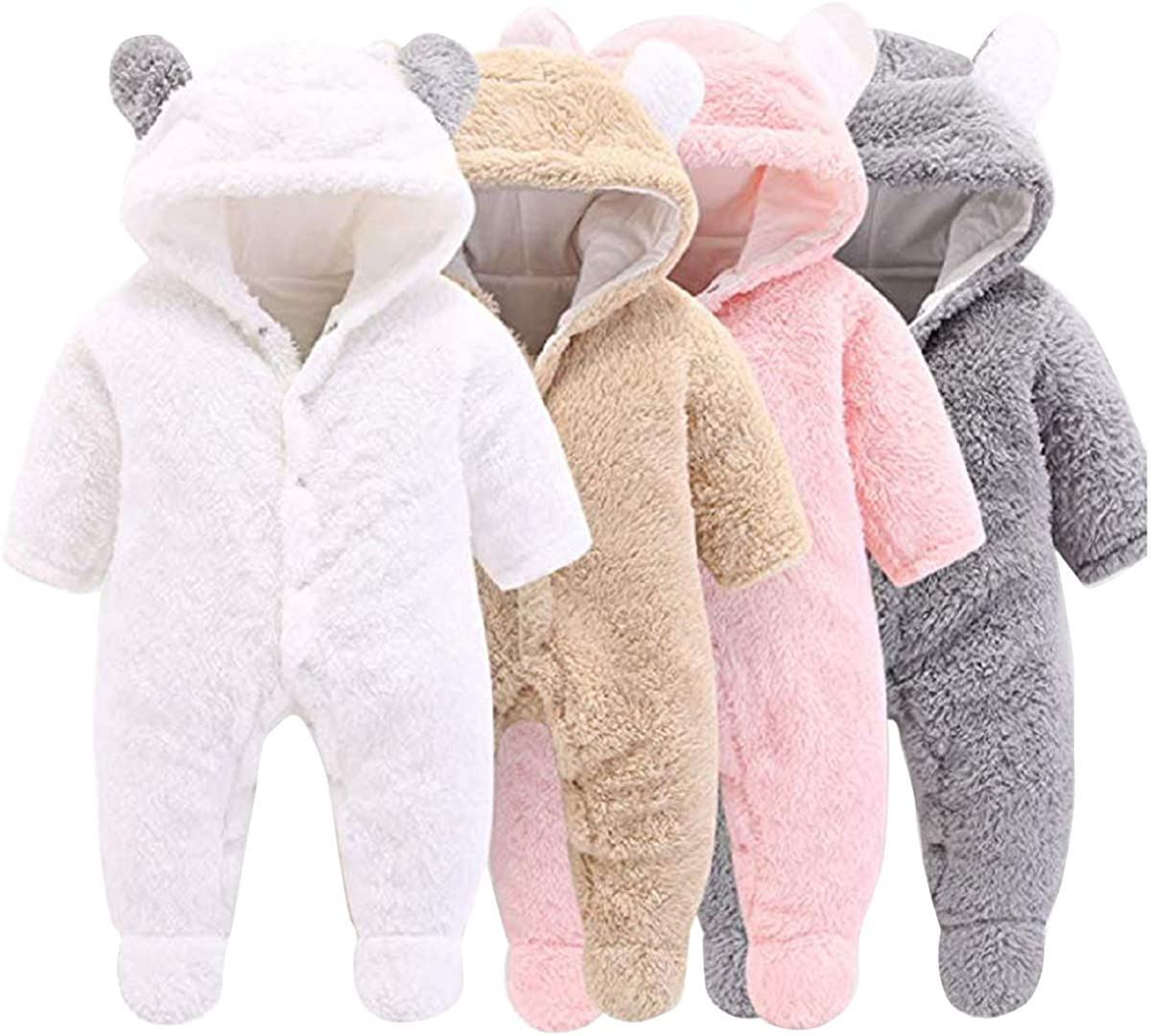Haokaini Newborn Bear Warmer Snowsuit Cotton Fleece Hooded Romper Jumpsuit for Baby Girls Boys