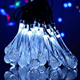 Glass Home Gardens Best Deals - niceEshop(TM) Solar LED String Lights 20FT 30-LED 2 Working Mode Water Drop Fairy Lights Outdoor String Lightings for Home, Garden, Patio, Lawn, Holiday Decorations(White Light)
