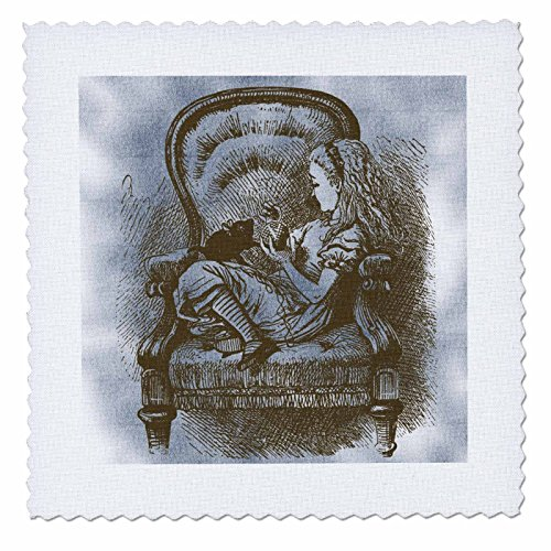 3dRose Alice in Chair with Cat Alice in Wonderland Vintage - Quilt Square, 12 by 12-Inch (qs_110210_4) (Chair Alice)