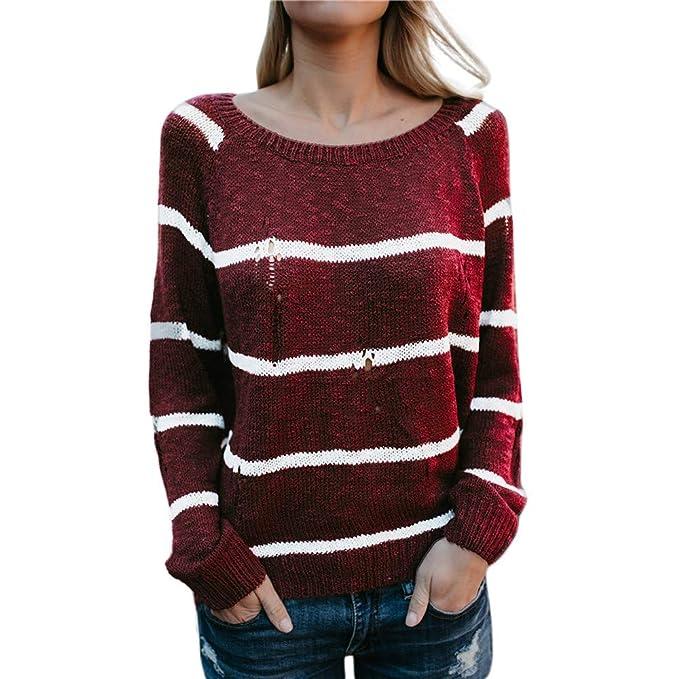 Suéter Mujer Invierno Talla Grande, Modaworld Suéter Mujer Desigual Manga Larga para Mujer Suéter Ronda De Cuello De Rayas Jersey De Punto: Amazon.es: Ropa ...