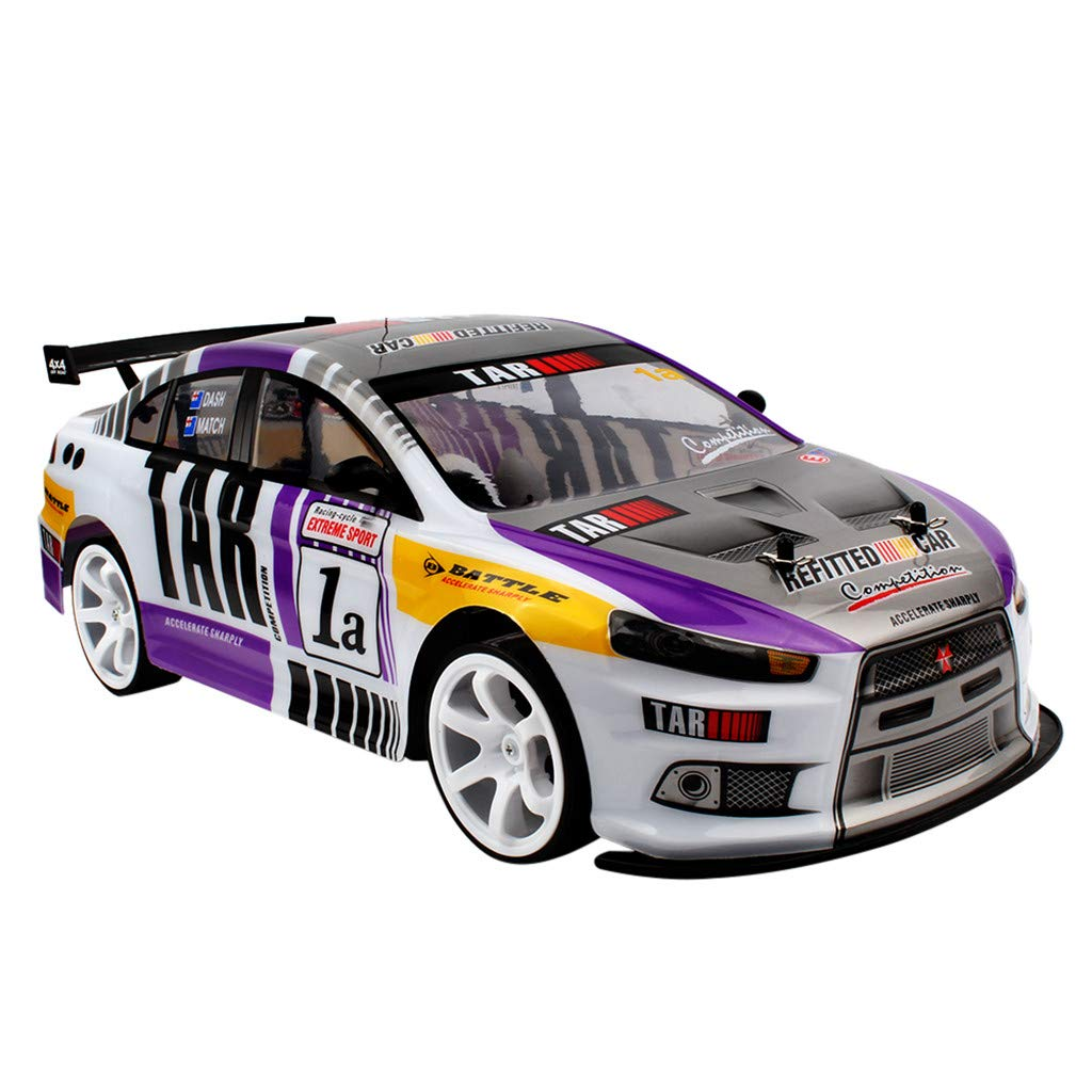 CreazyBee Profession 1:10 70km/h 2.4G RC Car 4WD Double Battery High Power LED Headlight Racing Truck (Purple) by CreazyBee (Image #2)