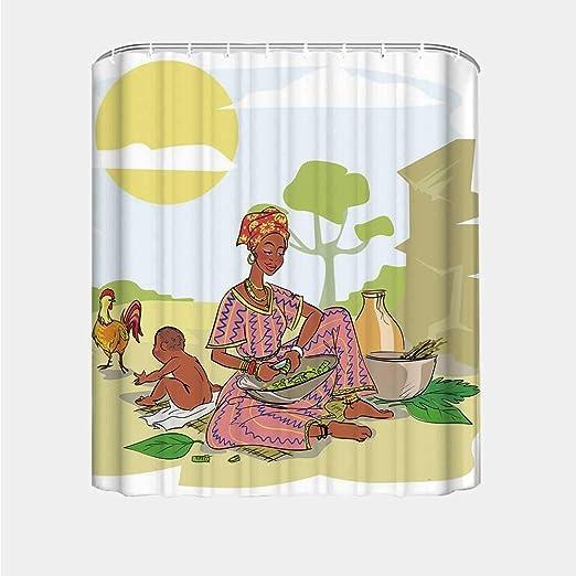 YOLIYANA Cortina de Ducha Creativa de Acuarela, diseño Tribal Triangular, diseño étnico con Bordes Dibujados a Mano, decoración nativa Azteca para bañera, 66 Pulgadas de Ancho x 72 Pulgadas de Alto: Amazon.es: