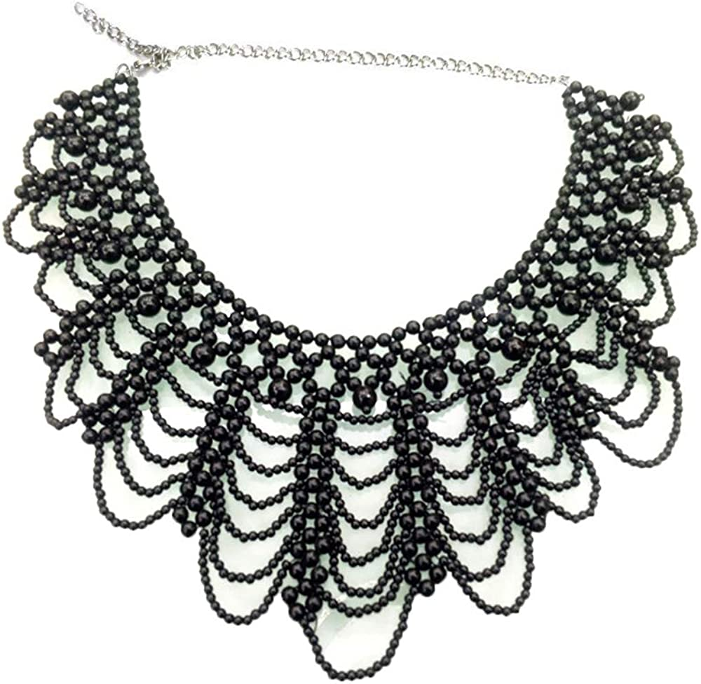 Vpang Detachable Blouse Fake Collar Elegant Pearl Beaded False Collar Choker Peter Pan Necklace