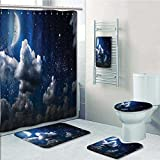 Printsonne 5-piece Bathroom Set-Includes Shower Curtain Liner,Celestial Solar Night Scene Stars and Clouds Heaven Place in Cosmos Theme Decorate the bathroom(Medium size)