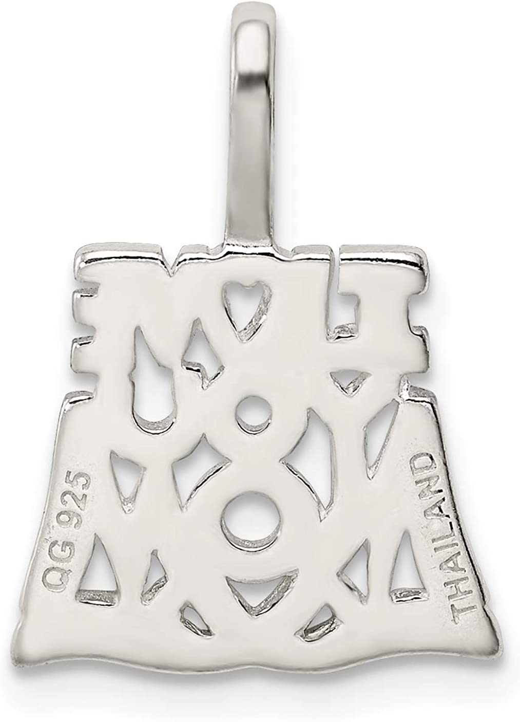 approximately 21 x 15 mm Mireval Sterling Silver I Love You Mom Pendant
