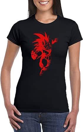 Black Female Gildan Short Sleeve T-Shirt - Goku mid air – Red design