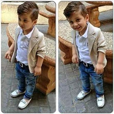 3PCS Baby Boys Gentleman Coat Shirt Denim Trousers Set Kids Clothes Outfits