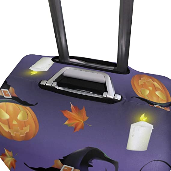 FOLPPLY Happy Halloween Ghost Luggage Cover Baggage Suitcase Travel Protector Fit for 18-32 Inch
