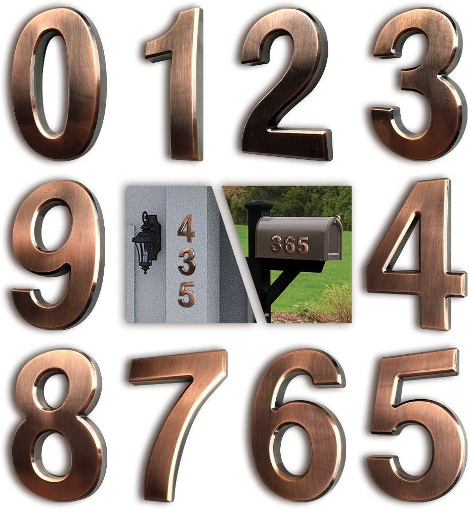 3 Inch Mailbox Numbers, House Address Number Stickers(10 Pcs, 0-9), for Apartment Door/ Home Room/ Gate, Bronze Shining, by FANXUS.(3 inch 0-9, Bronze)