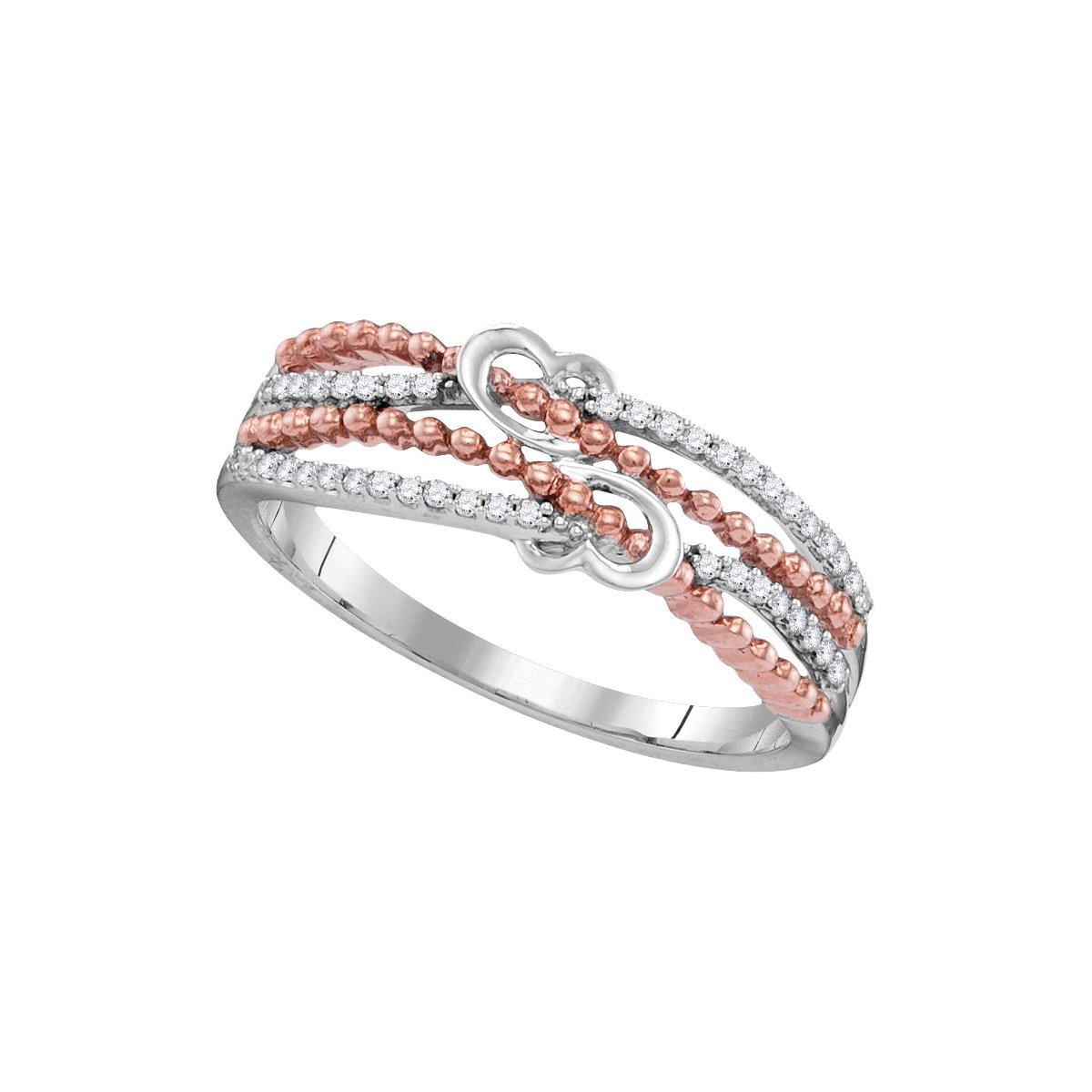 10kt White Gold Womens Round Diamond Heart Love Roped 2-tone Rose Band Ring 1/8 Cttw (I1-I2 clarity; I-J color)