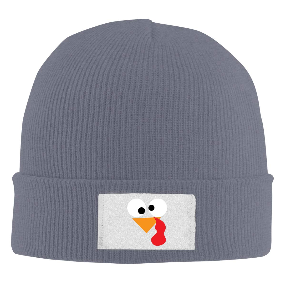 Dunpaiaa Skull Caps Turkey with A Bloody Nose Winter Warm Knit Hats Stretchy Cuff Beanie Hat Black