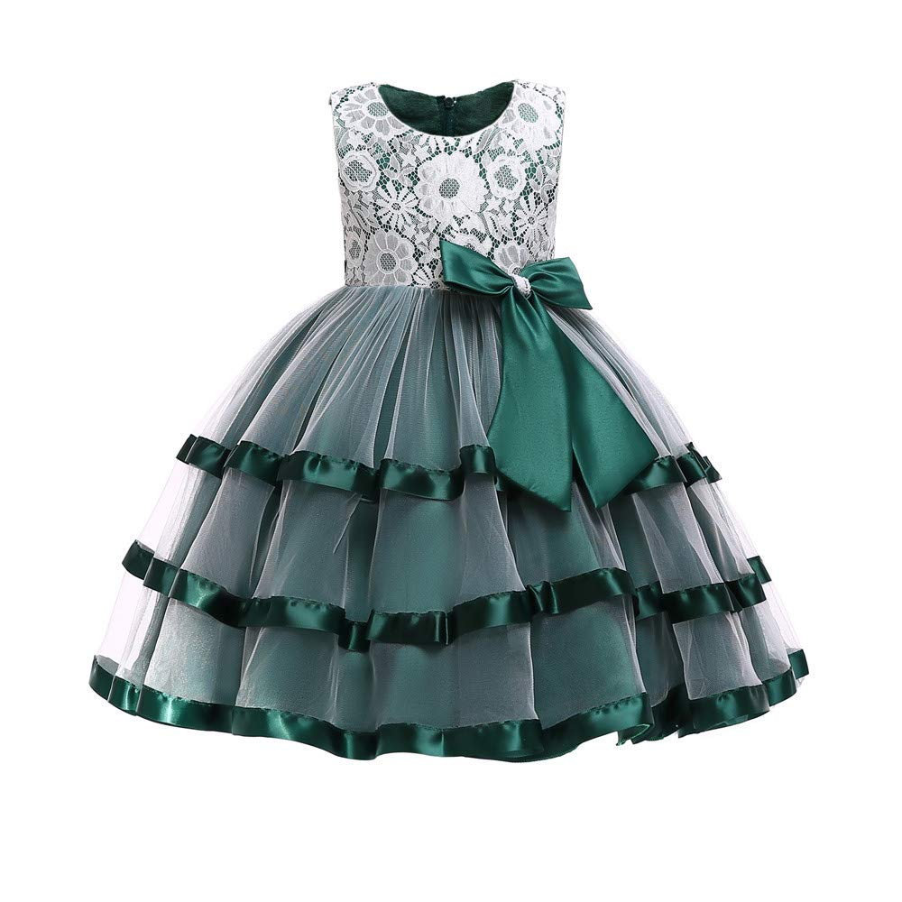 Princess Lace Tutu Dress for Girls Kids Wedding Pageant Bridesmaid Photoshoot Formal Gown Bowknot Tulle Swing Dress (Green, 110) by pengchengxinmiao