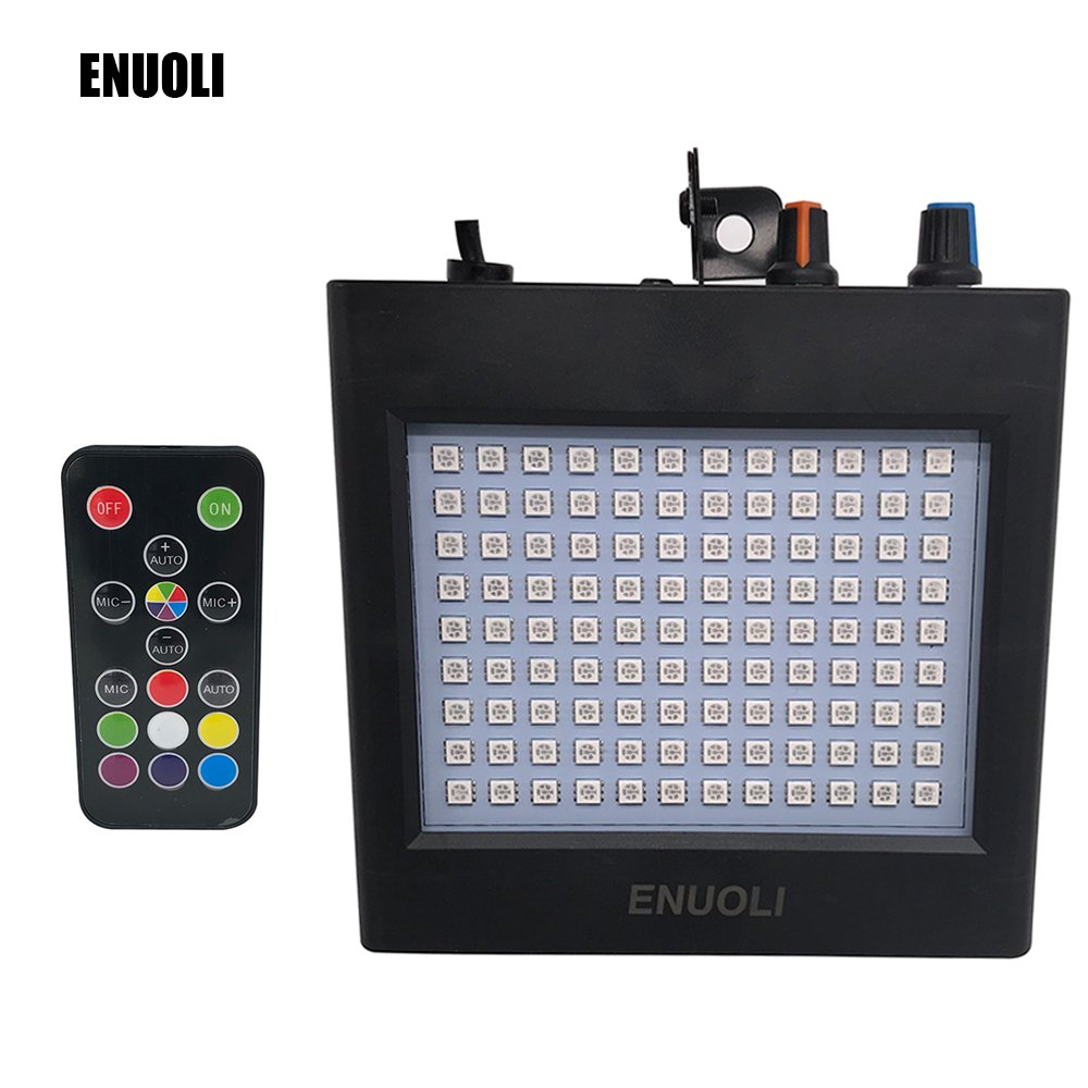 ENUOLI Ultra Bright RGB LED Strobe Lights 25W 108 LEDs Super Bright Mixed Flash Stage Lighting with Manual & Sound Activated Mode & Adjustable Flash Speed Control for Bar Xmas Wedding Club with Remote Enuoli Direct LW.108RGB