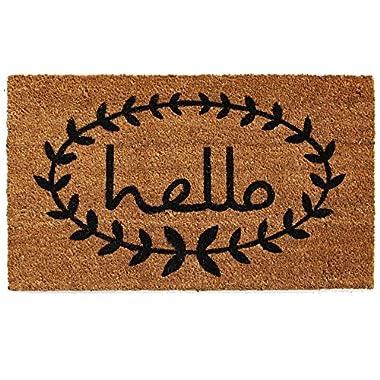 Home & More 121811729 Calico Hello Doormat, 17  x 29  x 0.60 , Natural/Black