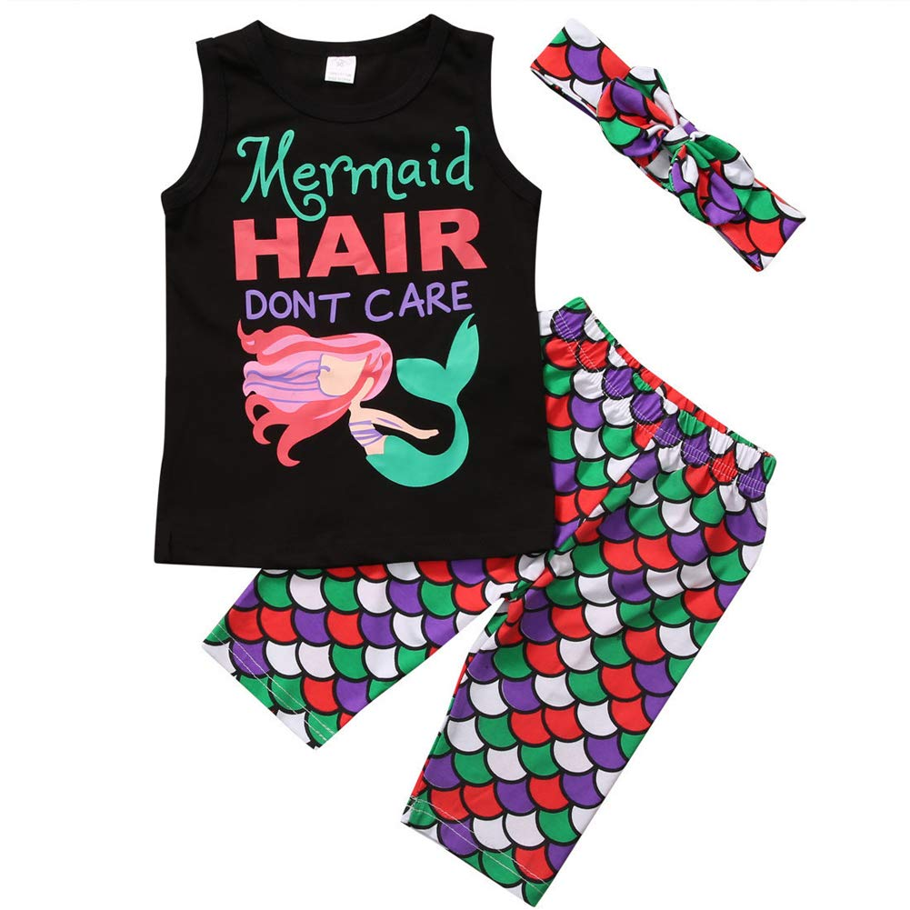 Bleubell Girls Pajamas Mermaid Shorts Set Toddler Summer Pjs Sleepwear 2-7Y