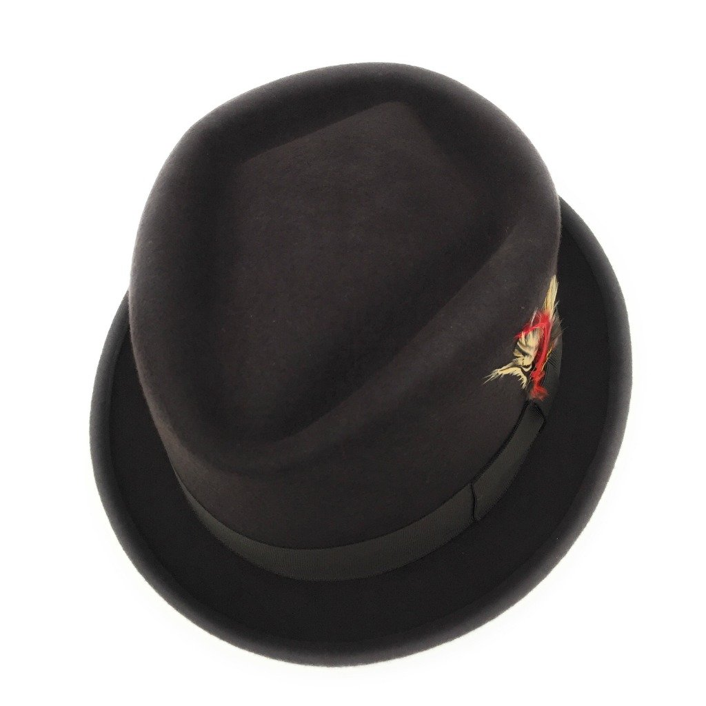 Cotswold Country Hats... Pork Pie Hat, Diamond Crown, Lined, Removable Feather, Premium Wool, Luxurious. Black, Brown, Navy, Grey. S, M, L. XL, XXL