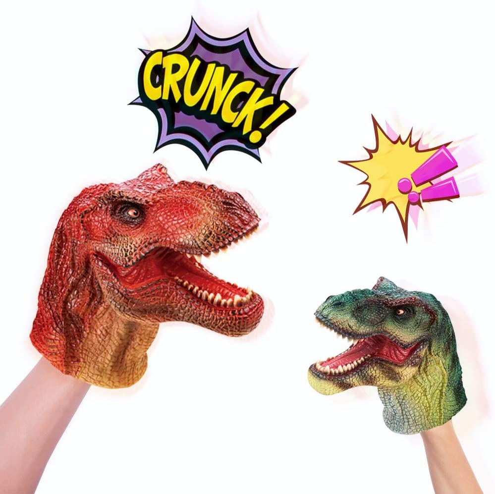 Marioneta de Mano de Dinosaurio Juguetes de Goma con Sonido Guantes de Marionetas de Animales Juego de Roles Guante Juguete T-Rex Verosímil Regalo Divertido para niños niñas Adultos (Verde)