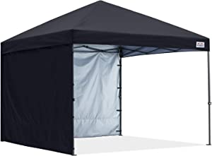 COOSHADE Pop Up Canopy Tent 8x8Ft Outdoor Festival Tailgate Event Vendor Craft Show Canopy with 2 Removable Sunwalls Instant Sun Protection Shelter with Wheeled Carry Bag(Black)