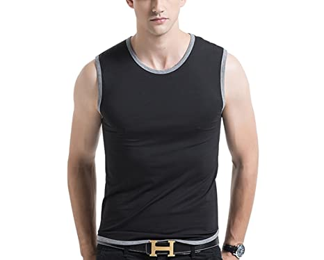 4904498a2e4eae Men s Premium Basic Solid Tank Top Round Neck Jersey Casual Shirts (Size up  to 4XL